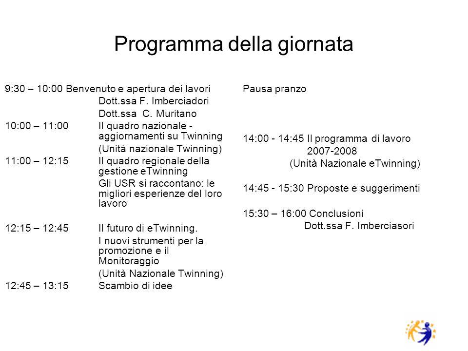 Programma della giornata 9:30 – 10:00 Benvenuto e apertura dei lavori Dott.ssa F. Imberciadori Dott.ssa C. Muritano 10:00 – 11:00Il quadro nazionale -