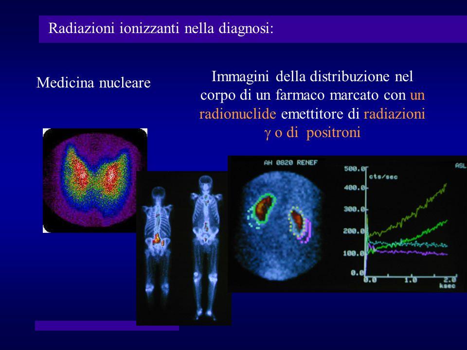 Immagini della distribuzione nel corpo di un farmaco marcato con un radionuclide emettitore di radiazioni o di positroni Medicina nucleare Radiazioni