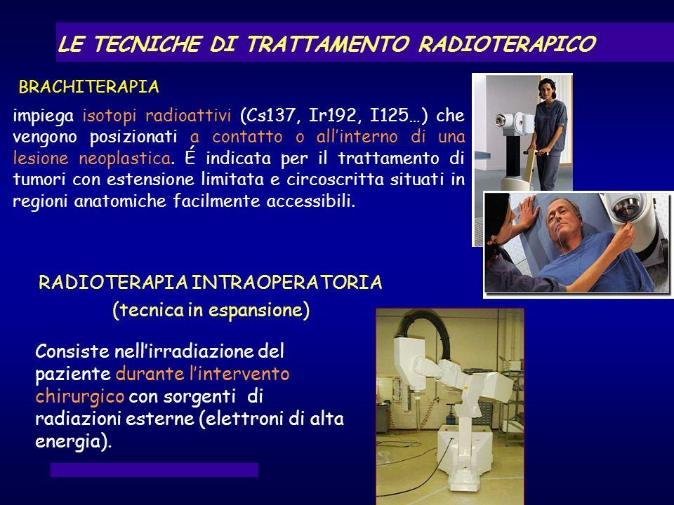impiega isotopi radioattivi (Cs137, Ir192, I125…) che vengono posizionati a contatto o allinterno di una lesione neoplastica. É indicata per il tratta