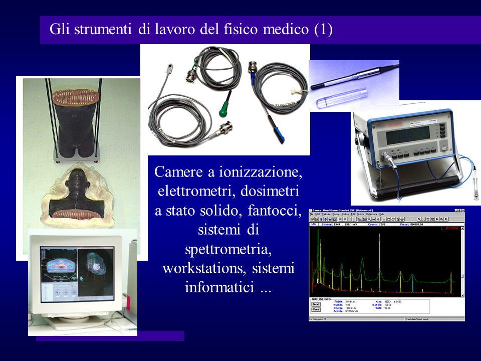 Gli strumenti di lavoro del fisico medico (1) Camere a ionizzazione, elettrometri, dosimetri a stato solido, fantocci, sistemi di spettrometria, works