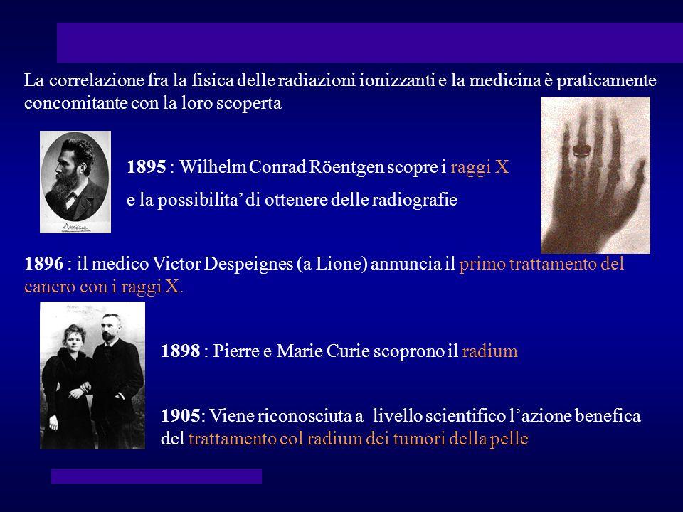 La correlazione fra la fisica delle radiazioni ionizzanti e la medicina è praticamente concomitante con la loro scoperta 1895 : Wilhelm Conrad Röentge