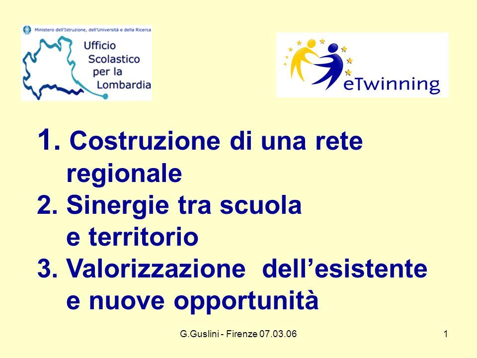 G.Guslini - Firenze 07.03.061 1. Costruzione di una rete regionale 2.