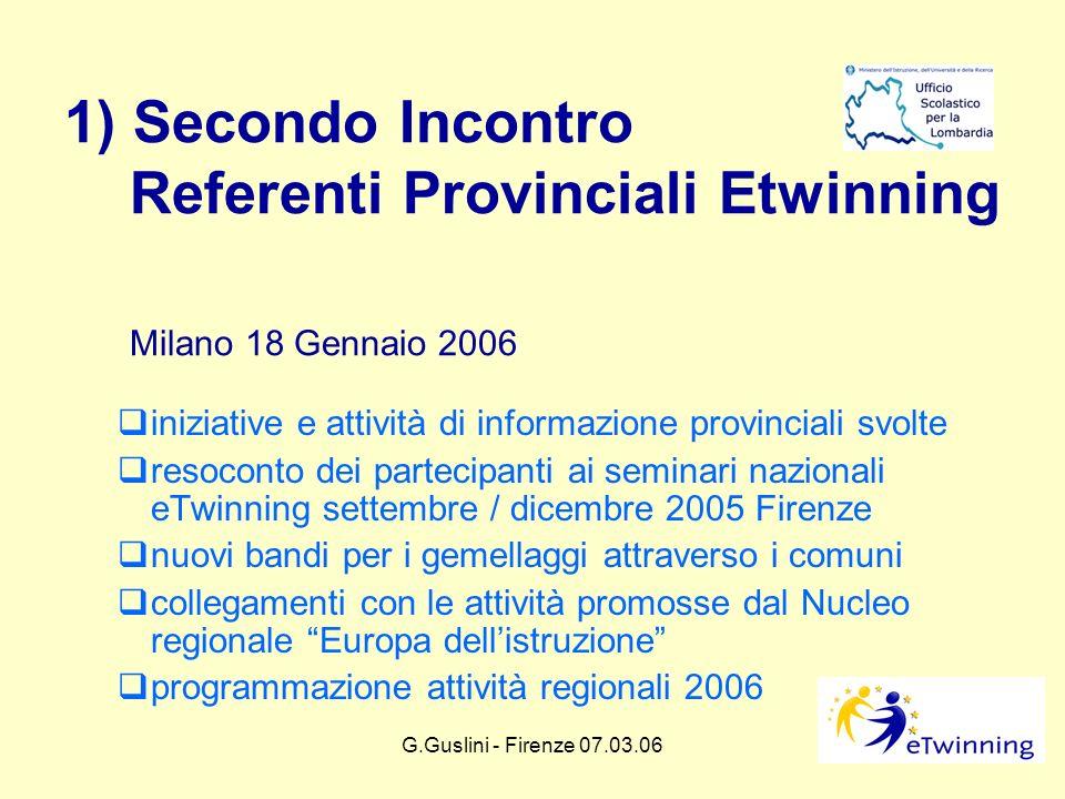 G.Guslini - Firenze 07.03.062 1) Secondo Incontro Referenti Provinciali Etwinning Milano 18 Gennaio 2006 iniziative e attività di informazione provinc