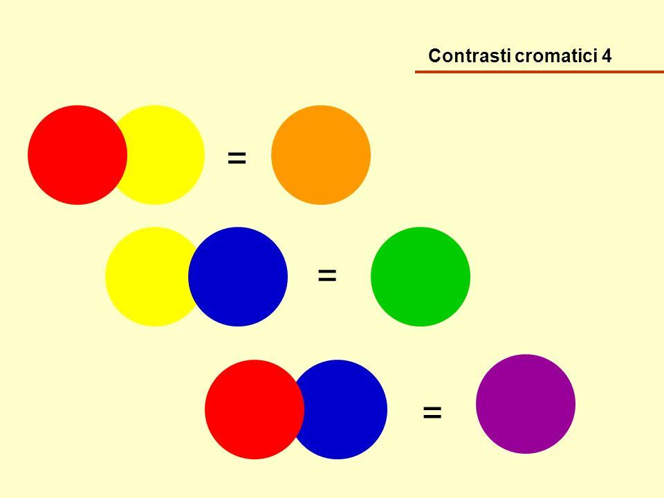 Contrasti cromatici 5 Da questa sequenza di colori abbina le coppie e rappresenta i contrasti: caldo/freddo, chiaro/scuro, primari, quantità, simultaneità