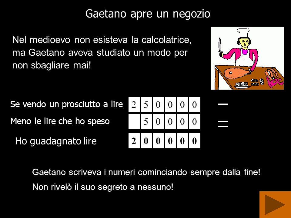 Gaetano apre un negozio Se vendo un prosciutto a lire Gaetano scriveva i numeri cominciando sempre dalla fine.