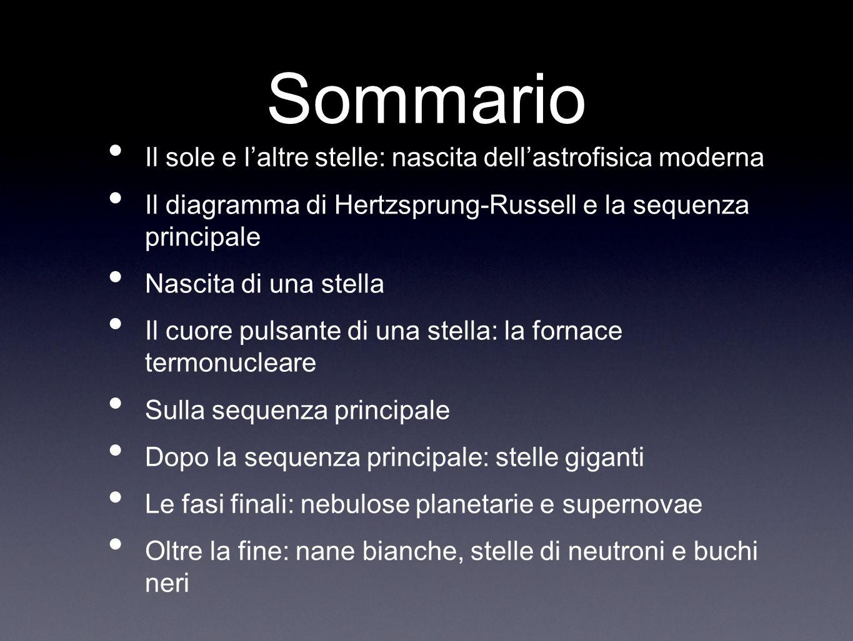 Sommario Il sole e laltre stelle: nascita dellastrofisica moderna Il diagramma di Hertzsprung-Russell e la sequenza principale Nascita di una stella I
