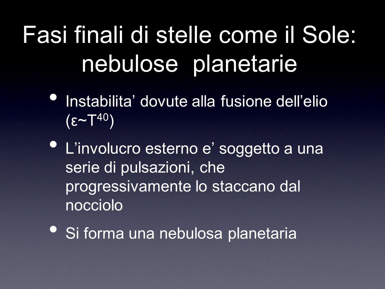 Fasi finali di stelle come il Sole: nebulose planetarie Instabilita dovute alla fusione dellelio (ε~T 40 ) Linvolucro esterno e soggetto a una serie d