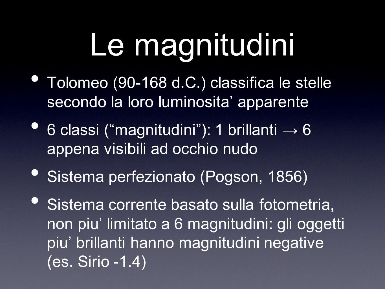 Le magnitudini Tolomeo (90-168 d.C.) classifica le stelle secondo la loro luminosita apparente 6 classi (magnitudini): 1 brillanti 6 appena visibili a