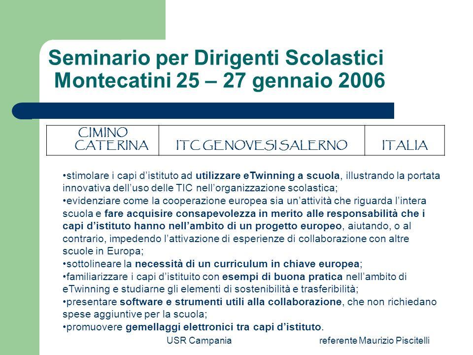 USR Campaniareferente Maurizio Piscitelli Dettagli registrazioni Regioni Incontro eTwinning Firenze, 12 settembre 2005 9/23