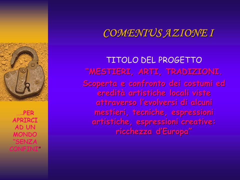 COMENIUS AZIONE I TITOLO DEL PROGETTO MESTIERI, ARTI, TRADIZIONI.