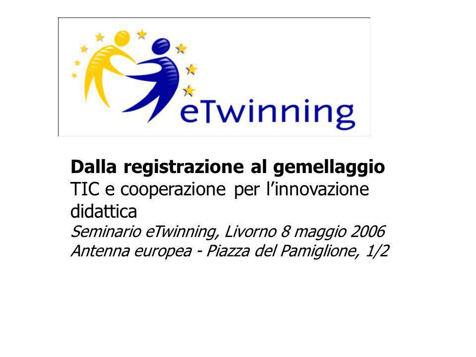 Dalla registrazione al gemellaggio TIC e cooperazione per linnovazione didattica Seminario eTwinning, Livorno 8 maggio 2006 Antenna europea - Piazza del Pamiglione, 1/2