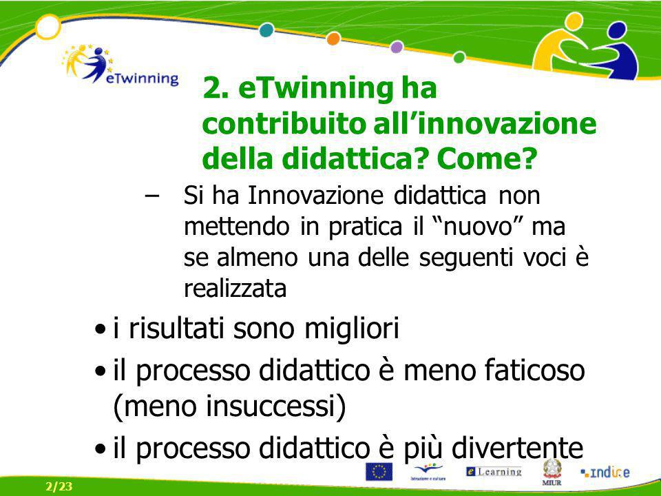 2.eTwinning ha contribuito allinnovazione della didattica.