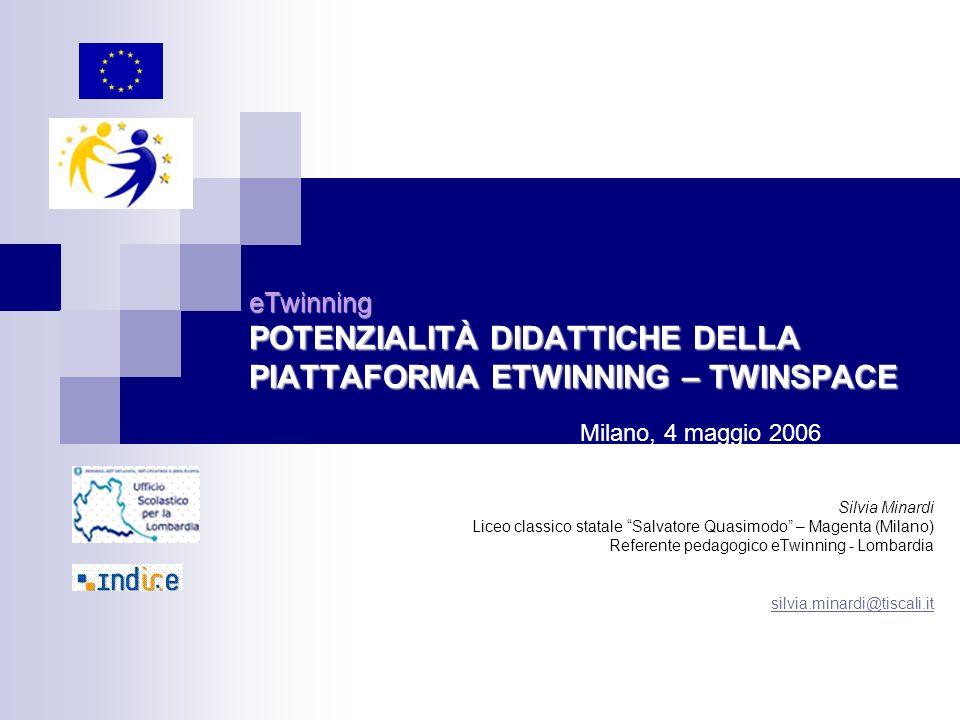 eTwinning POTENZIALITÀ DIDATTICHE DELLA PIATTAFORMA ETWINNING – TWINSPACE Silvia Minardi Liceo classico statale Salvatore Quasimodo – Magenta (Milano)