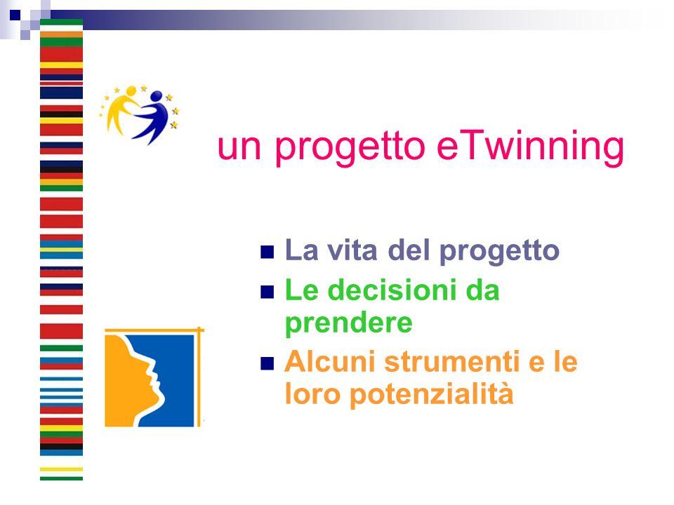un progetto eTwinning La vita del progetto Le decisioni da prendere Alcuni strumenti e le loro potenzialità