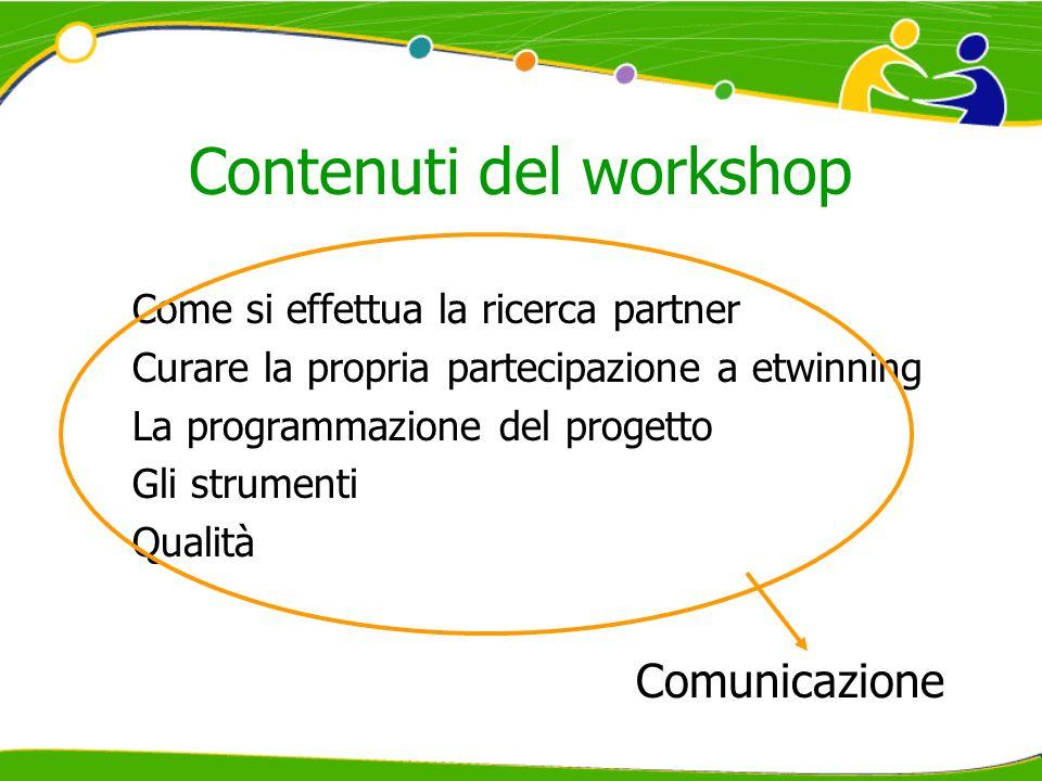 Contenuti del workshop Come si effettua la ricerca partner Curare la propria partecipazione a etwinning La programmazione del progetto Gli strumenti Qualità Comunicazione