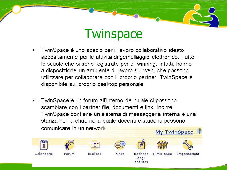Twinspace TwinSpace è uno spazio per il lavoro collaborativo ideato appositamente per le attività di gemellaggio elettronico. Tutte le scuole che si s