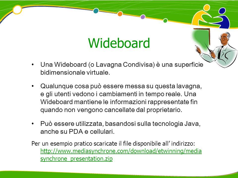 Wideboard Una Wideboard (o Lavagna Condivisa) è una superficie bidimensionale virtuale. Qualunque cosa può essere messa su questa lavagna, e gli utent