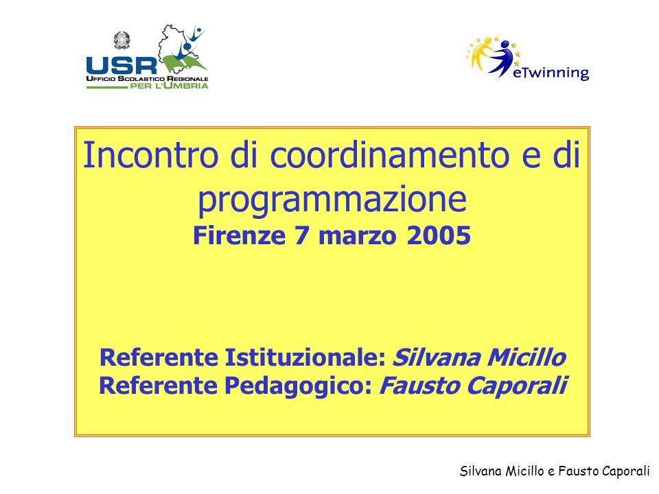 Silvana Micillo e Fausto Caporali Incontro di coordinamento e di programmazione Firenze 7 marzo 2005 Referente Istituzionale: Silvana Micillo Referente Pedagogico: Fausto Caporali