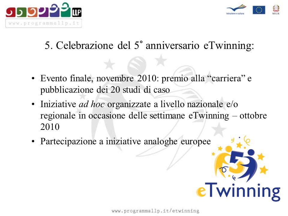 5. Celebrazione del 5° anniversario eTwinning: Evento finale, novembre 2010: premio alla carriera e pubblicazione dei 20 studi di caso Iniziative ad h