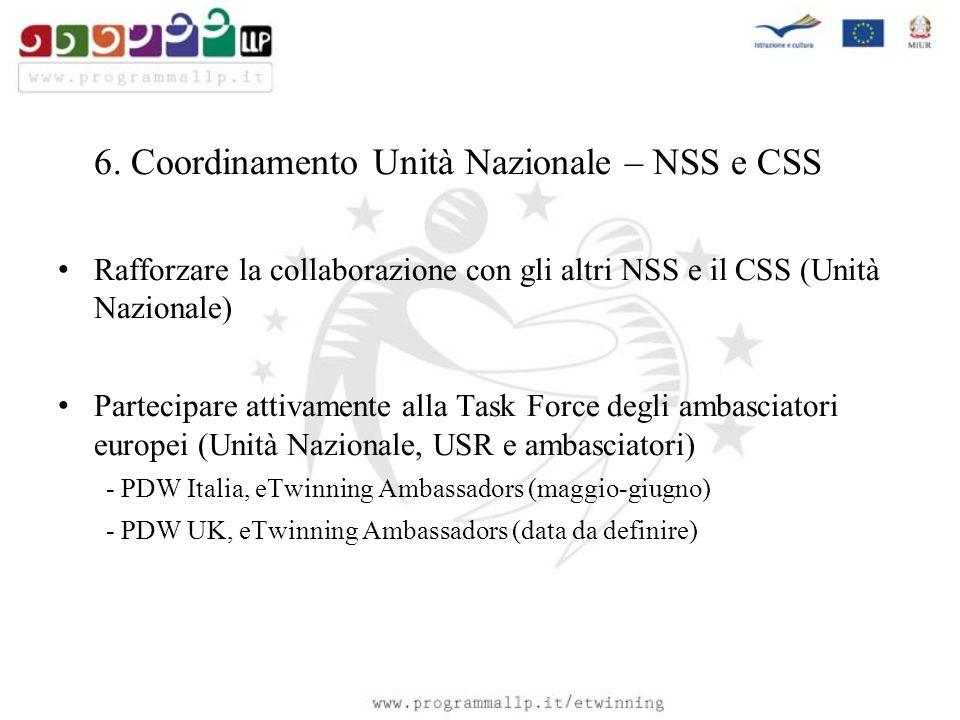 6. Coordinamento Unità Nazionale – NSS e CSS Rafforzare la collaborazione con gli altri NSS e il CSS (Unità Nazionale) Partecipare attivamente alla Ta
