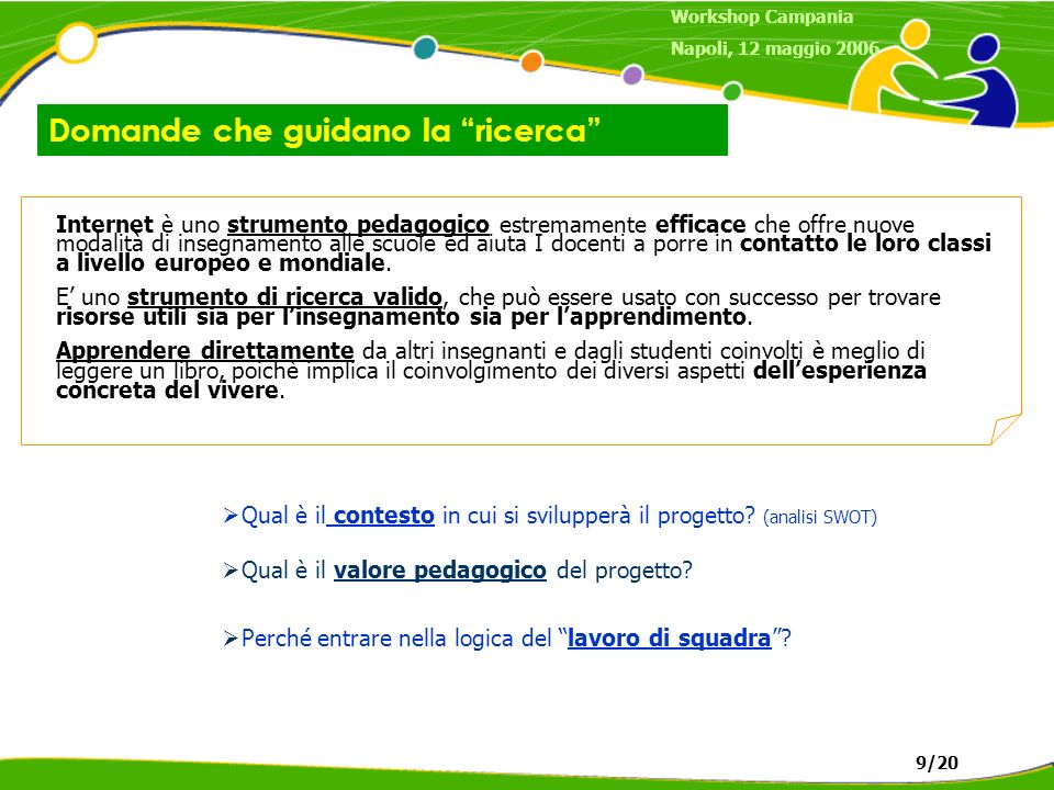 Domande che guidano la ricerca Workshop Campania Napoli, 12 maggio 2006 9/20 Internet è uno strumento pedagogico estremamente efficace che offre nuove modalità di insegnamento alle scuole ed aiuta I docenti a porre in contatto le loro classi a livello europeo e mondiale.