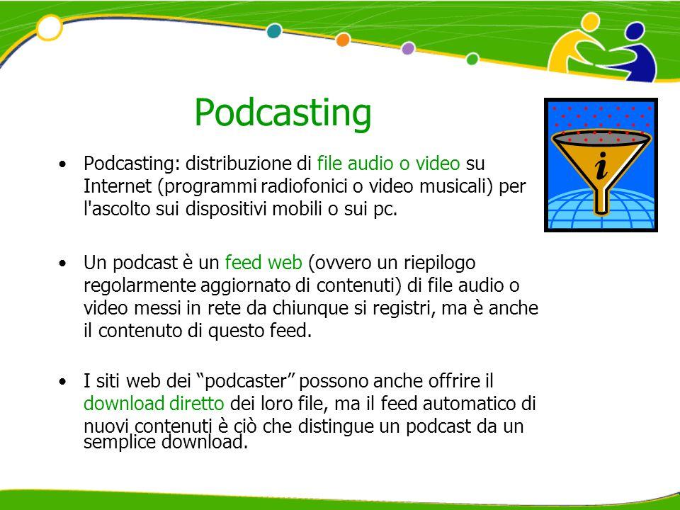 Podcasting Podcasting: distribuzione di file audio o video su Internet (programmi radiofonici o video musicali) per l'ascolto sui dispositivi mobili o