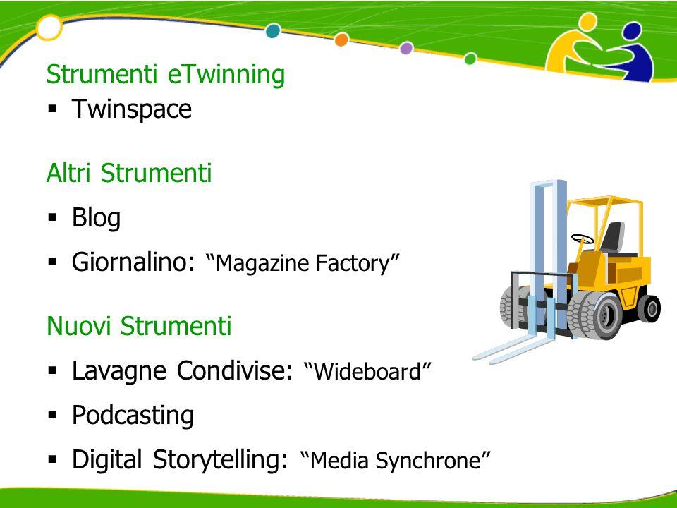 Strumenti eTwinning Twinspace Altri Strumenti Blog Giornalino: Magazine Factory Nuovi Strumenti Lavagne Condivise: Wideboard Podcasting Digital Storyt