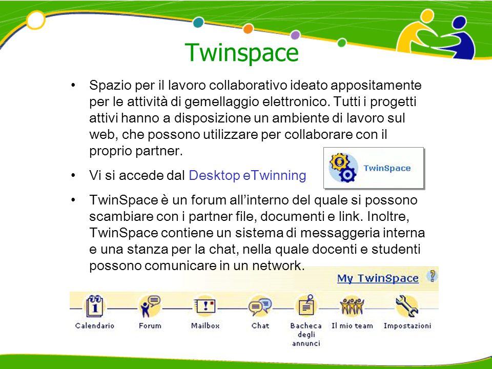 Twinspace Spazio per il lavoro collaborativo ideato appositamente per le attività di gemellaggio elettronico. Tutti i progetti attivi hanno a disposiz