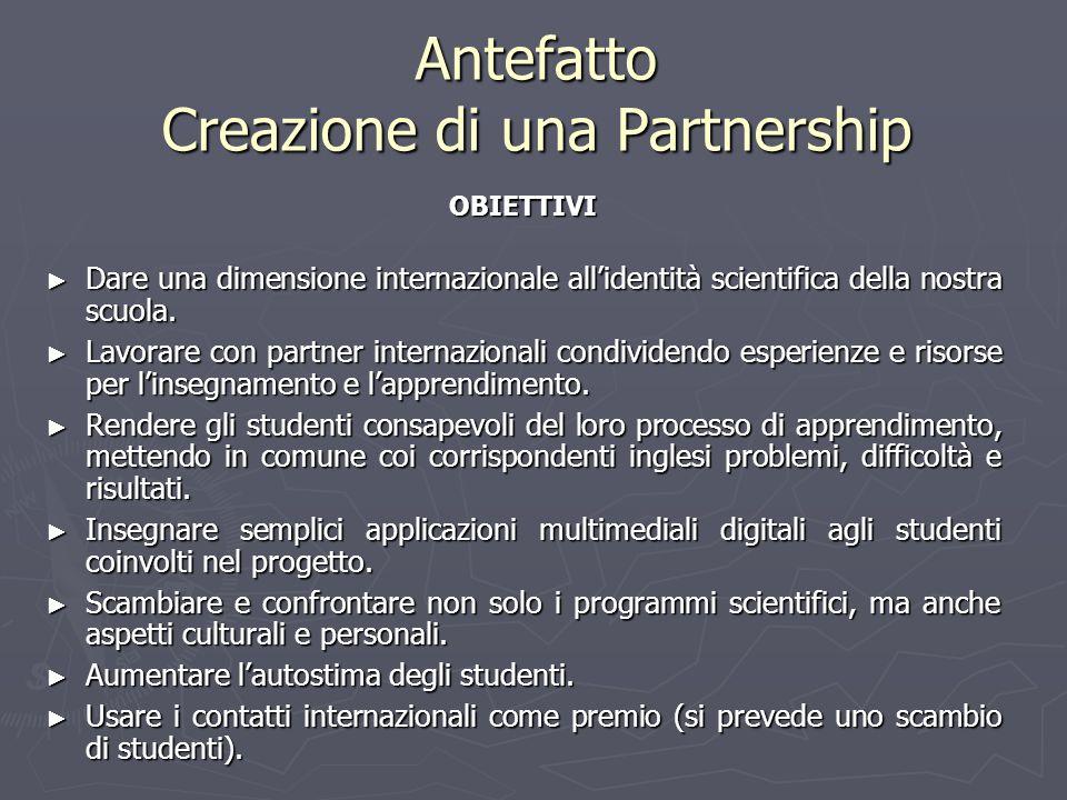 Antefatto Creazione di una Partnership OBIETTIVI Dare una dimensione internazionale allidentità scientifica della nostra scuola. Dare una dimensione i