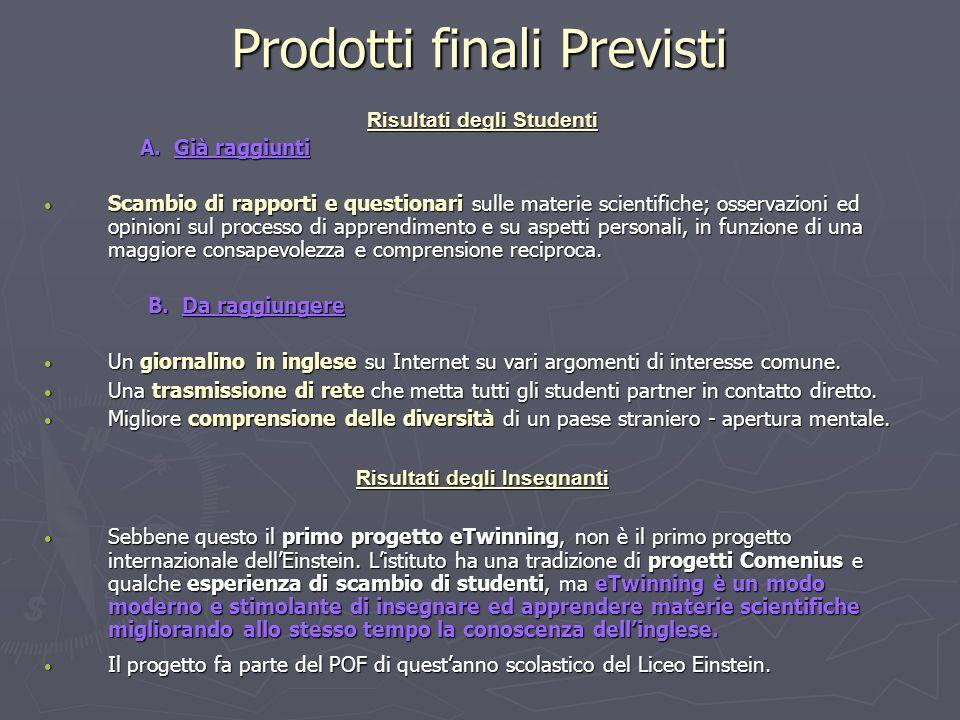 Prodotti finali Previsti Risultati degli Studenti A.