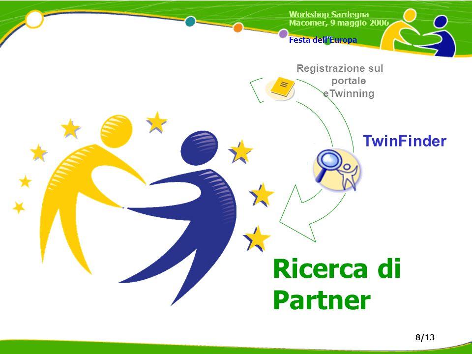 Registrazione sul portale eTwinning TwinFinder Ricerca di Partner Workshop Sardegna Macomer, 9 maggio 2006 Festa dellEuropa 8/13