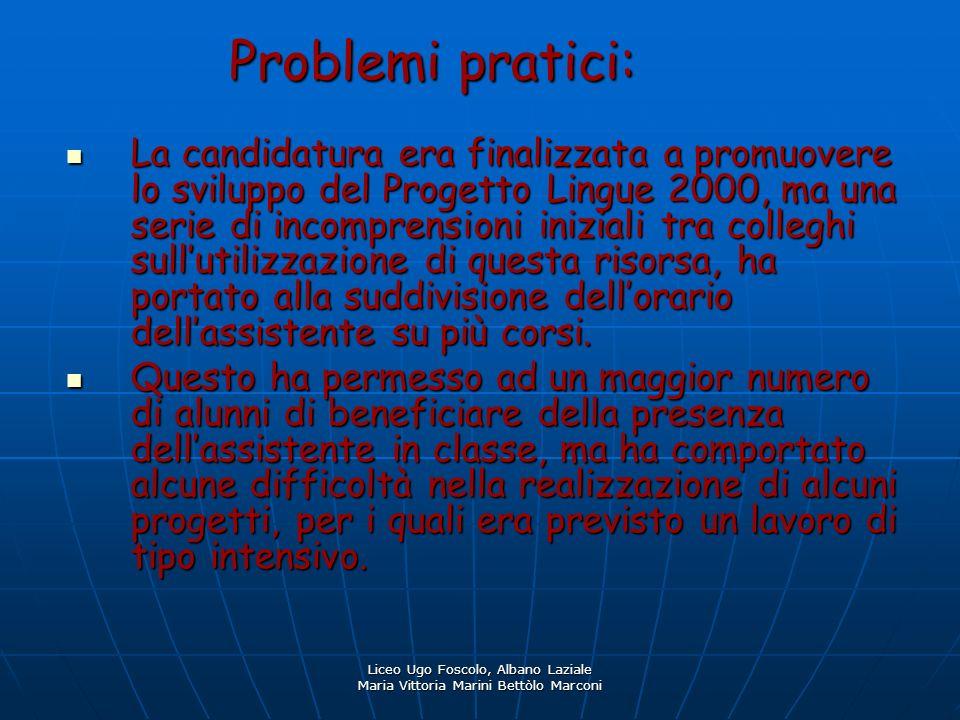Liceo Ugo Foscolo, Albano Laziale Maria Vittoria Marini Bettòlo Marconi Problemi pratici: La candidatura era finalizzata a promuovere lo sviluppo del