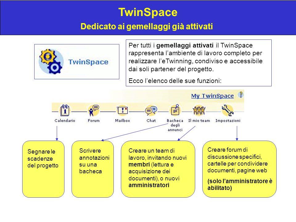 TwinSpace Dedicato ai gemellaggi già attivati Per tutti i gemellaggi attivati il TwinSpace rappresenta lambiente di lavoro completo per realizzare leTwinning, condiviso e accessibile dai soli partener del progetto.