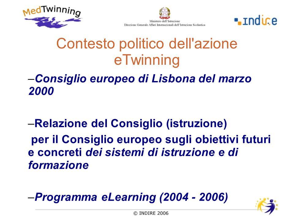 Contesto politico dell azione eTwinning –Consiglio europeo di Lisbona del marzo 2000 –Relazione del Consiglio (istruzione) per il Consiglio europeo sugli obiettivi futuri e concreti dei sistemi di istruzione e di formazione –Programma eLearning (2004 - 2006)