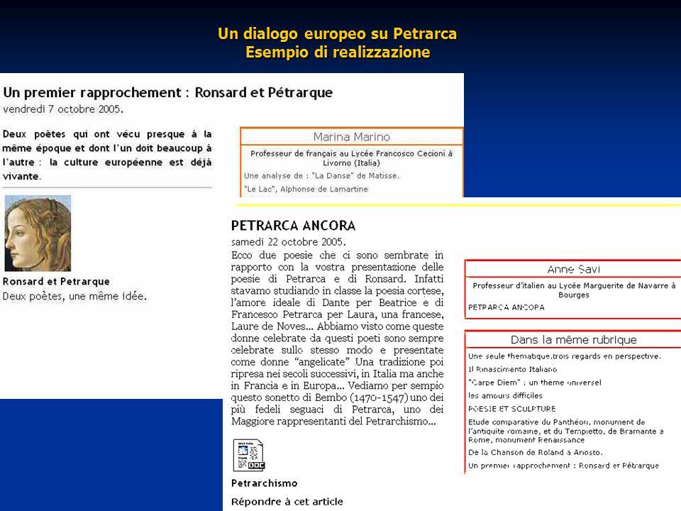 Un dialogo europeo su Petrarca Esempio di realizzazione Un dialogo europeo su Petrarca Esempio di realizzazione