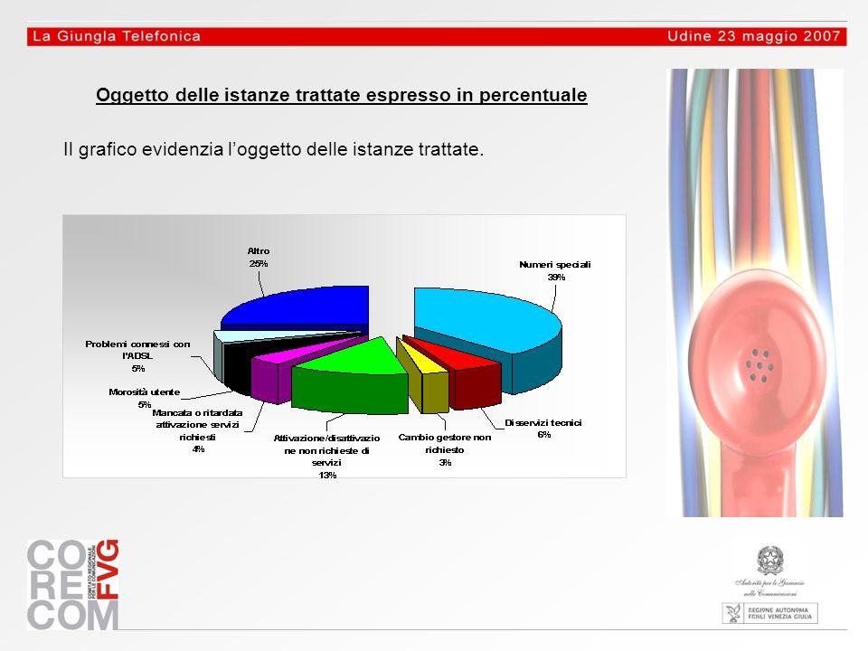 Oggetto delle istanze trattate espresso in percentuale Il grafico evidenzia loggetto delle istanze trattate.