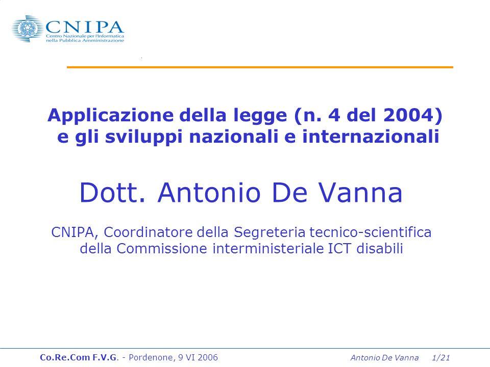 Co.Re.Com F.V.G. - Pordenone, 9 VI 2006 Antonio De Vanna 1/21 Dott.