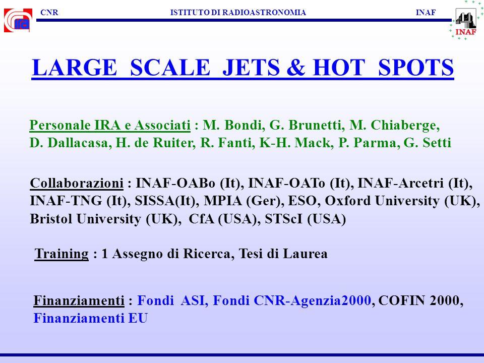CNR ISTITUTO DI RADIOASTRONOMIA INAF LARGE SCALE JETS & HOT SPOTS SCOPI SCIENTIFICI : Osservazioni multi-frequenza di kpc-jets Propagazione, trasporto