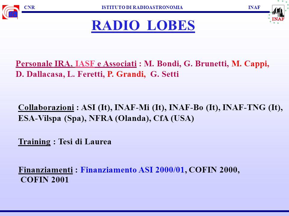 CNR ISTITUTO DI RADIOASTRONOMIA INAF RADIO LOBES SCOPI SCIENTIFICI : Energetica dei Lobi Radio (campo B, particelle) Interazione dei Lobi con l'ICM/IG