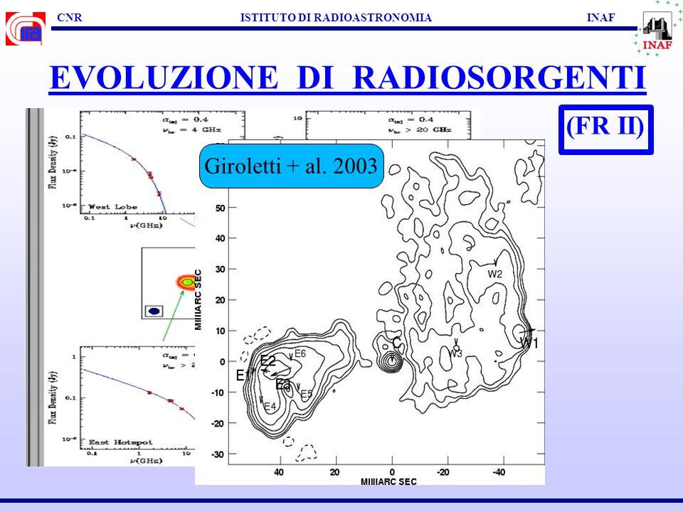 CNR ISTITUTO DI RADIOASTRONOMIA INAF EVOLUZIONE DI RADIOSORGENTI (FR II) Orienti + al. 2004