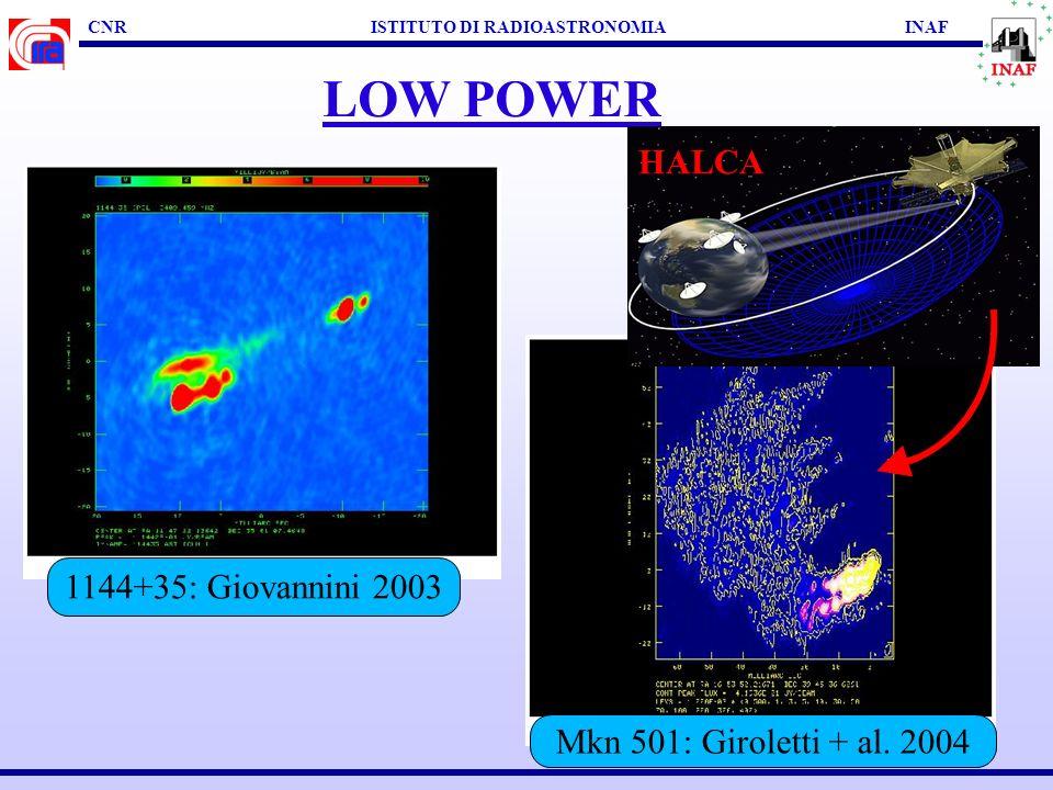 CNR ISTITUTO DI RADIOASTRONOMIA INAF LOW POWER Personale IRA & Associati : M.Bondi, D.Dallacasa, L.Feretti, G.Giovannini, M.Giroletti (PhD), C.Stanghellini, T.Venturi Collaborazioni : Oss.