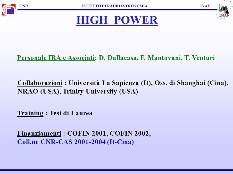 CNR ISTITUTO DI RADIOASTRONOMIA INAF HIGH POWER Personale IRA e Associati: D.