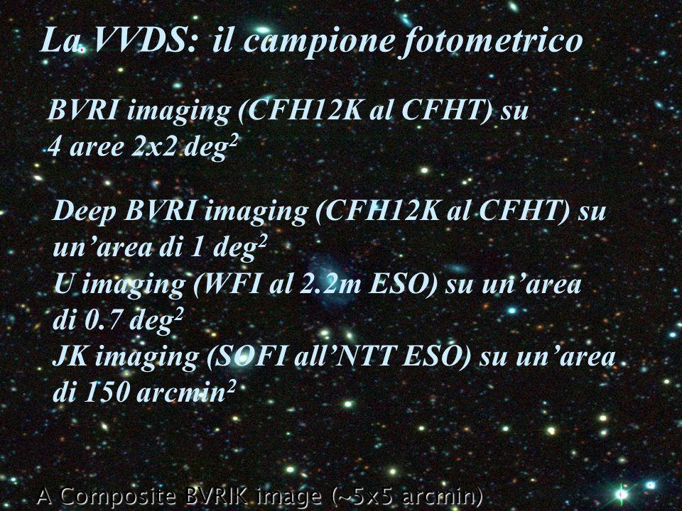 A Composite BVRIK image (~5x5 arcmin) La VVDS: il campione fotometrico BVRI imaging (CFH12K al CFHT) su 4 aree 2x2 deg 2 Deep BVRI imaging (CFH12K al CFHT) su unarea di 1 deg 2 U imaging (WFI al 2.2m ESO) su unarea di 0.7 deg 2 JK imaging (SOFI allNTT ESO) su unarea di 150 arcmin 2