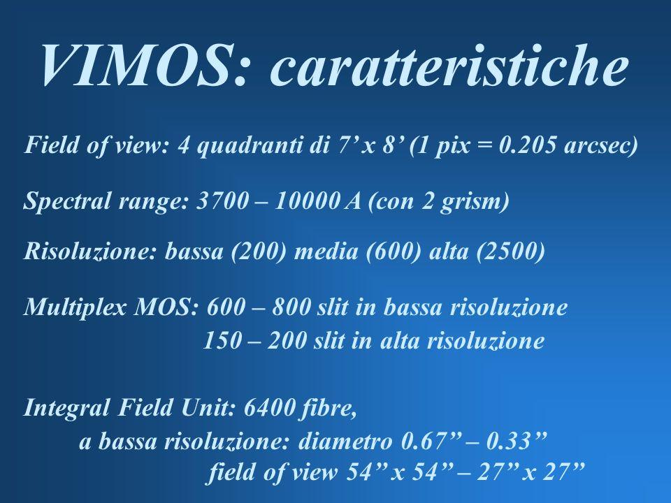 VIMOS: caratteristiche Field of view: 4 quadranti di 7 x 8 (1 pix = 0.205 arcsec) Spectral range: 3700 – 10000 A (con 2 grism) Risoluzione: bassa (200) media (600) alta (2500) Multiplex MOS: 600 – 800 slit in bassa risoluzione 150 – 200 slit in alta risoluzione Integral Field Unit: 6400 fibre, a bassa risoluzione: diametro 0.67 – 0.33 field of view 54 x 54 – 27 x 27