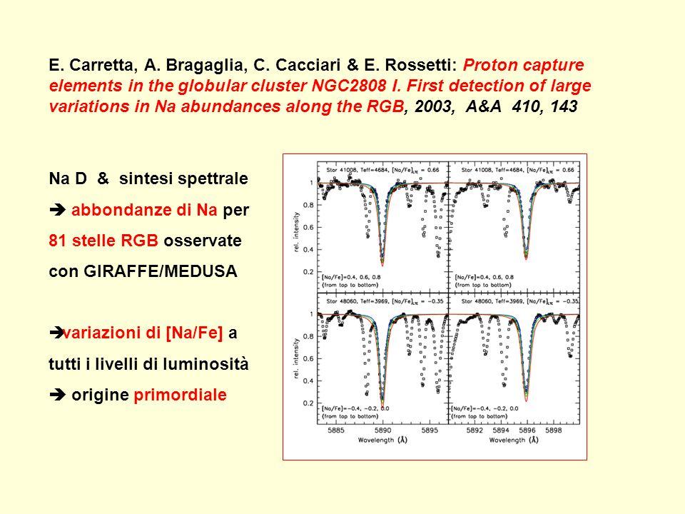 E. Carretta, A. Bragaglia, C. Cacciari & E. Rossetti: Proton capture elements in the globular cluster NGC2808 I. First detection of large variations i