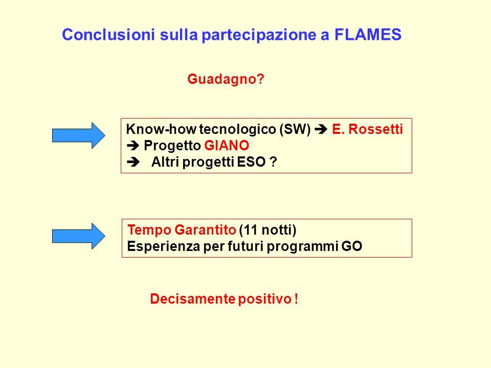 Conclusioni sulla partecipazione a FLAMES Guadagno? Know-how tecnologico (SW) E. Rossetti Progetto GIANO Altri progetti ESO ? Tempo Garantito (11 nott