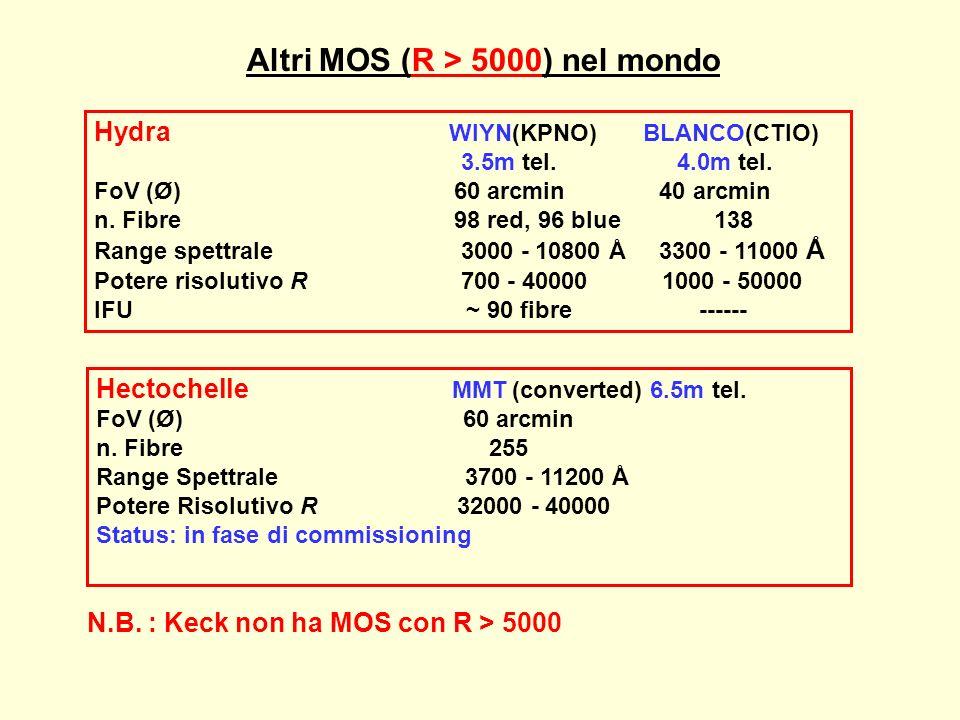 Altri MOS (R > 5000) nel mondo Hydra WIYN(KPNO) BLANCO(CTIO) 3.5m tel. 4.0m tel. FoV (Ø) 60 arcmin 40 arcmin n. Fibre 98 red, 96 blue 138 Range spettr