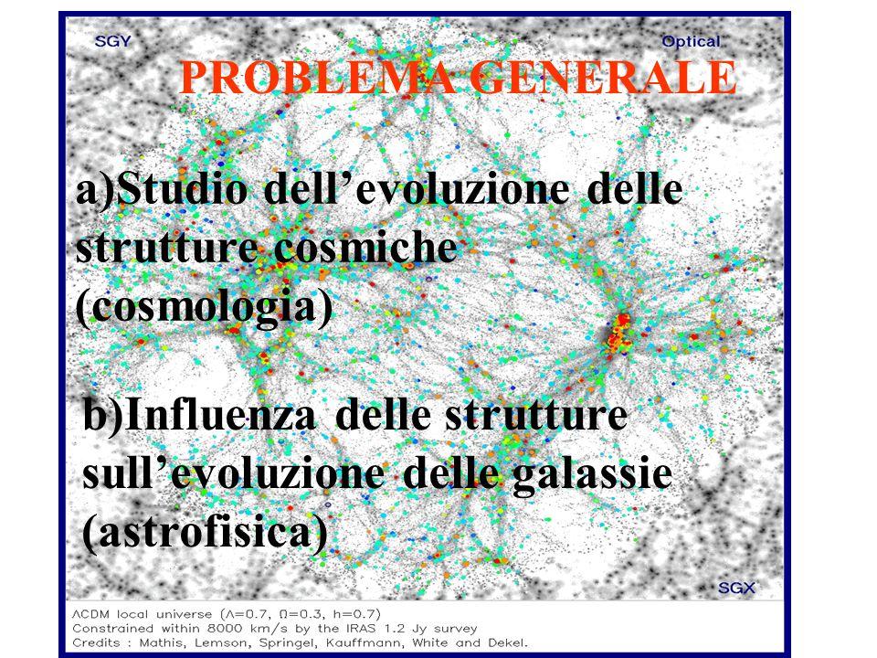 PROBLEMA GENERALE a)Studio dellevoluzione delle strutture cosmiche (cosmologia) b)Influenza delle strutture sullevoluzione delle galassie (astrofisica)