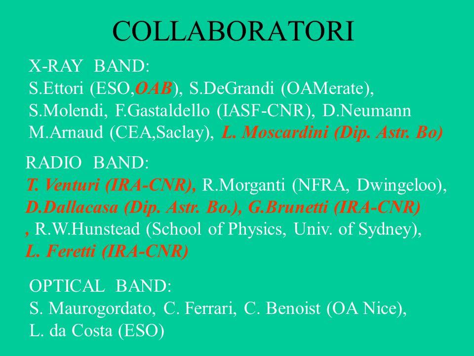 X-RAY BAND: S.Ettori (ESO,OAB), S.DeGrandi (OAMerate), S.Molendi, F.Gastaldello (IASF-CNR), D.Neumann M.Arnaud (CEA,Saclay), L.