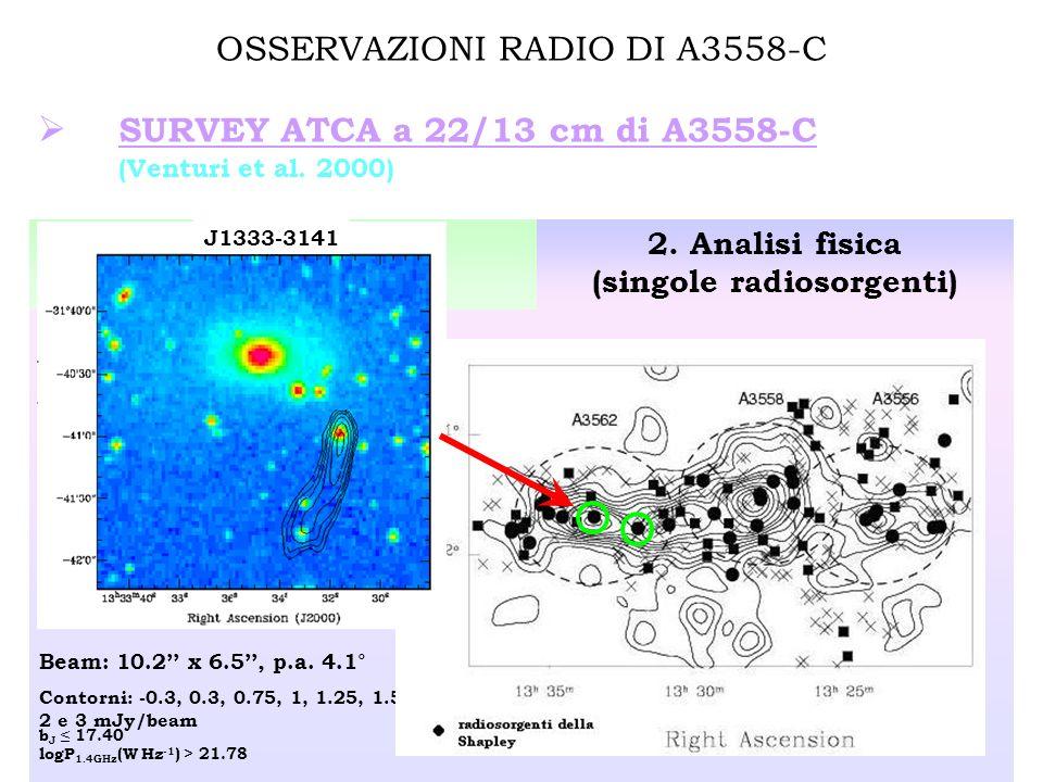 OSSERVAZIONI RADIO DI A3558-C SURVEY ATCA a 22/13 cm di A3558-C (Venturi et al.